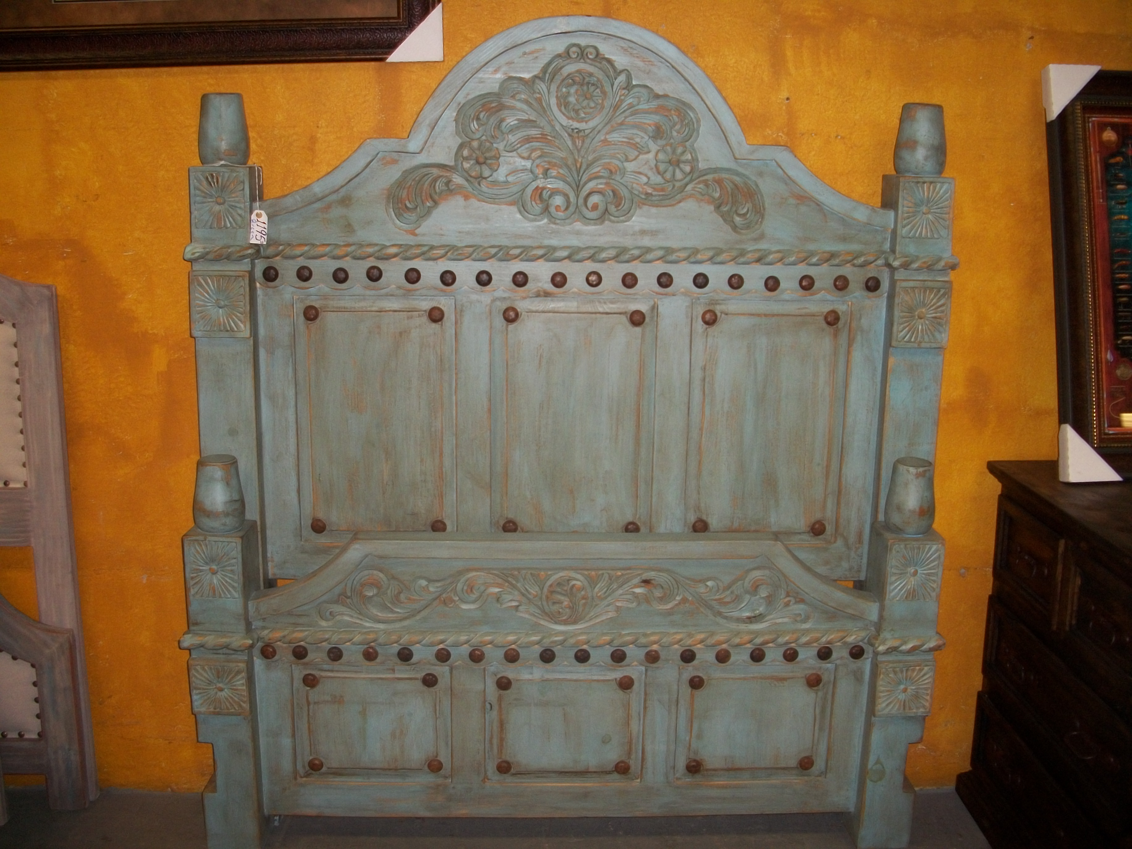 Old World Turquoise Bed Monterrey Rustic Furniture