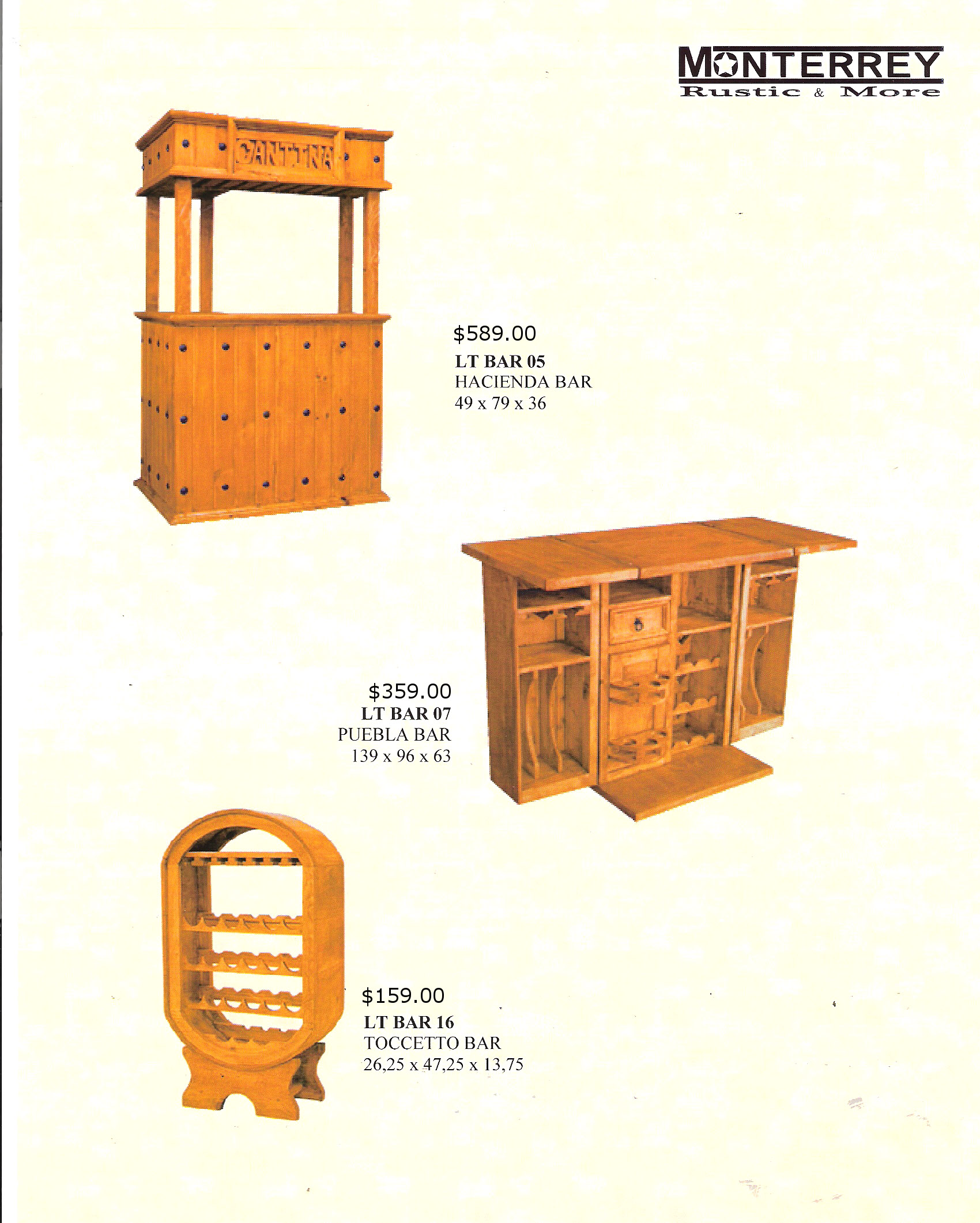 Hacienda Pueblo Tocetto Bars Monterrey Rustic Furniture