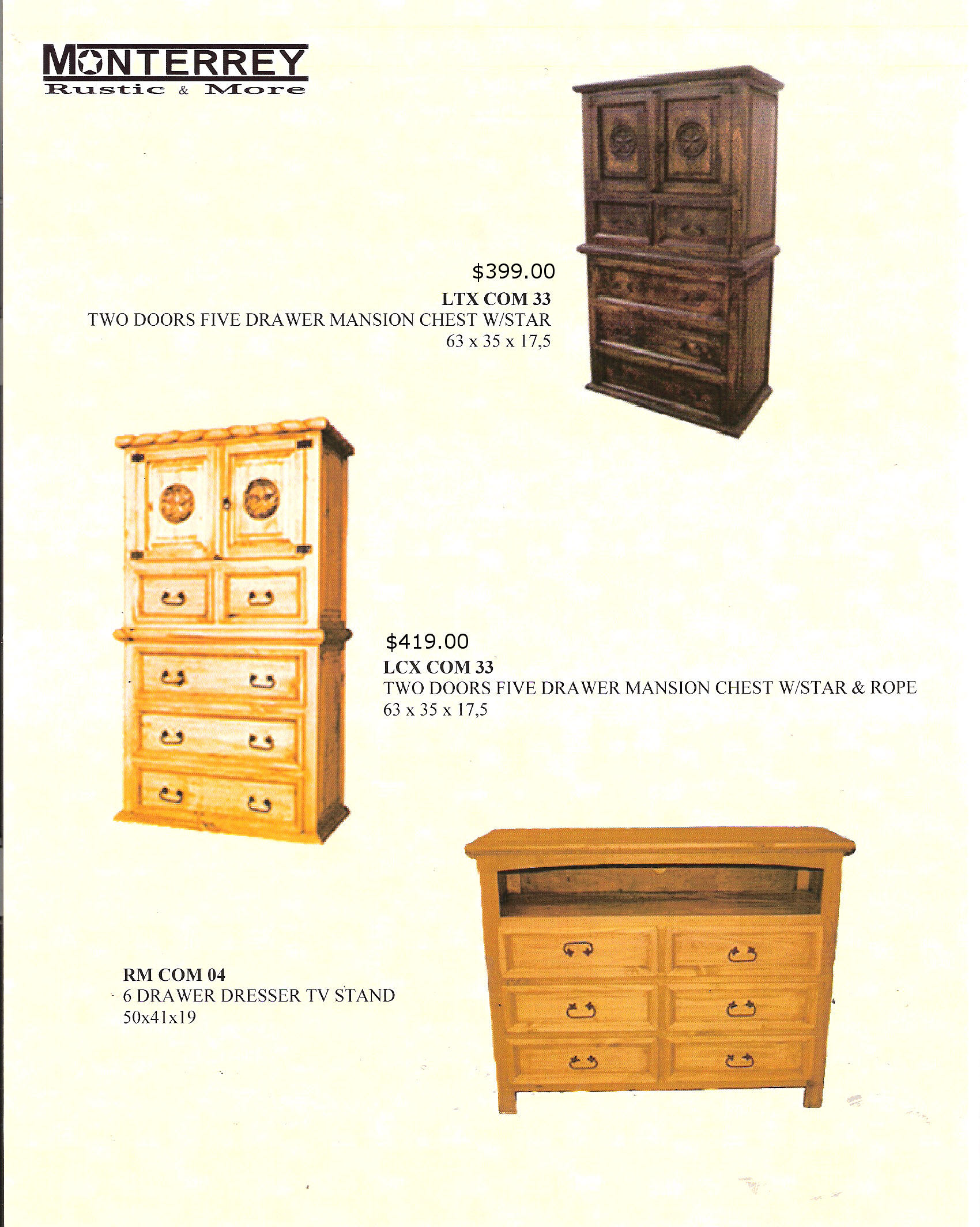 Mansion Chests Monterrey Rustic Furniture