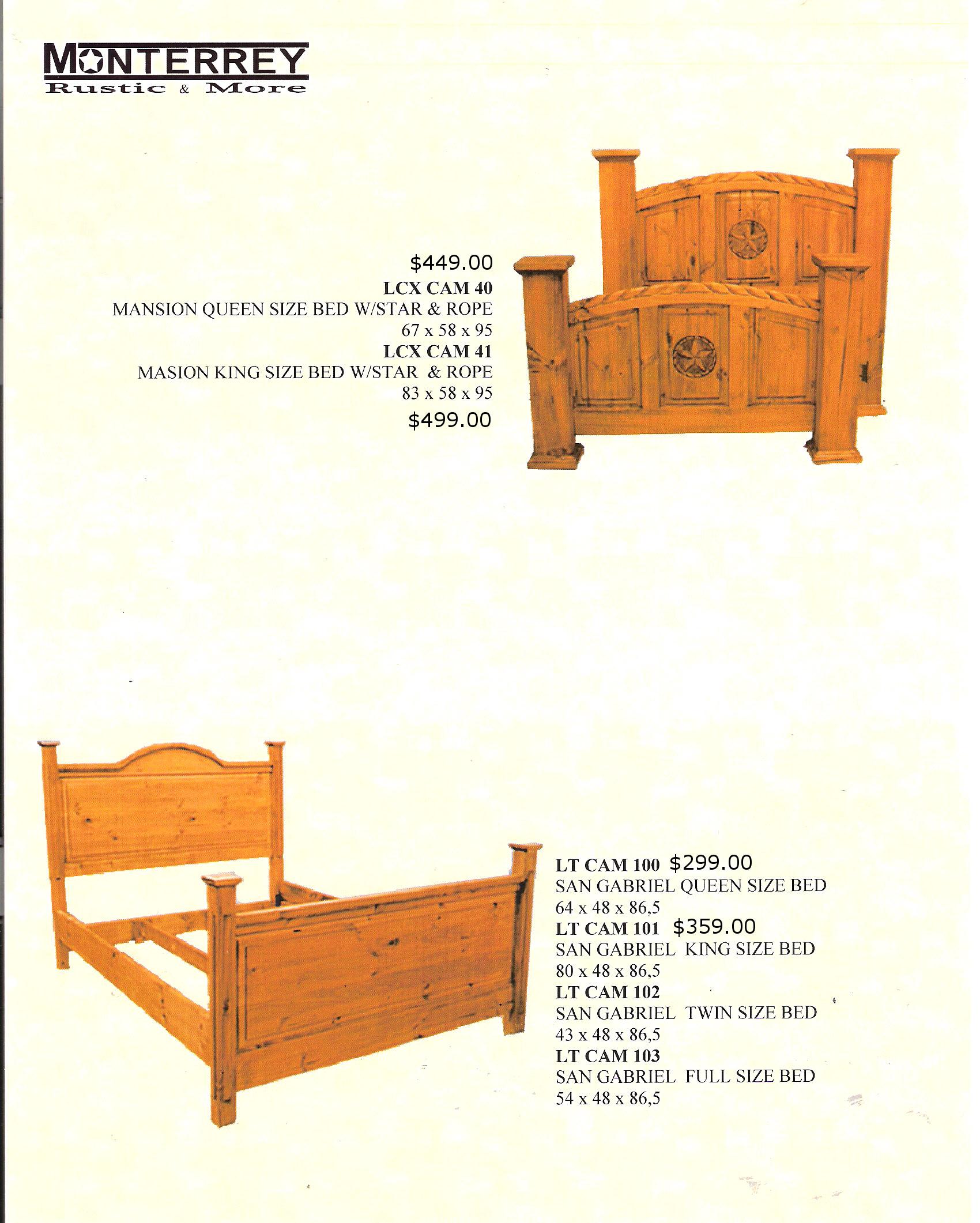 San Gabriel Mansion Beds Monterrey Rustic Furniture