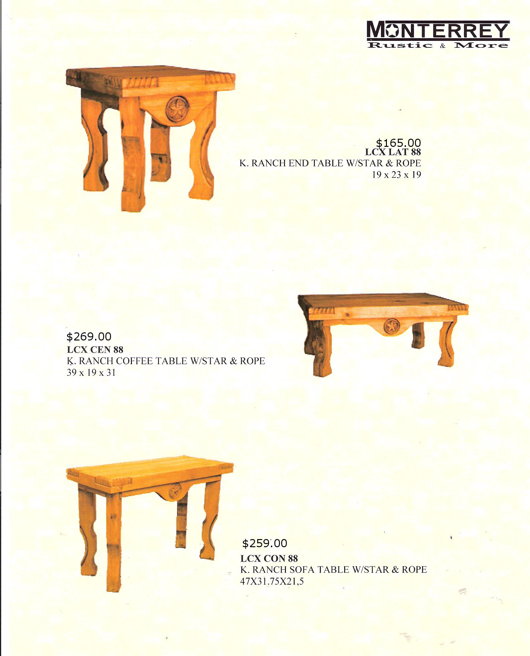 K Ranch Sofa Tables Monterrey Rustic Furniture