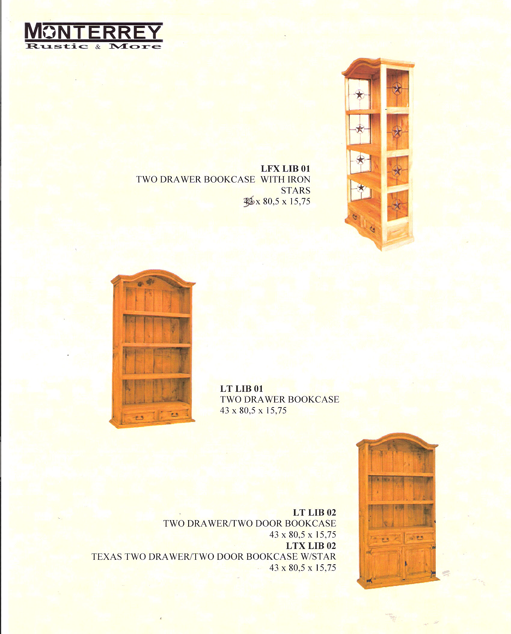 Two Drawer Bookcases Monterrey Rustic Furniture